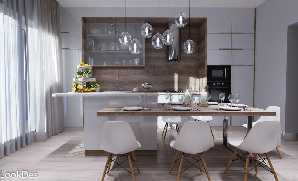 Кухня-гостиная таун-хауса в современном стиле