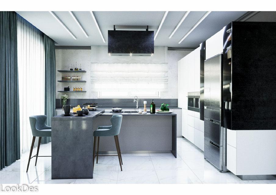 Дизайн-проект кухни-гостиной в жилом доме