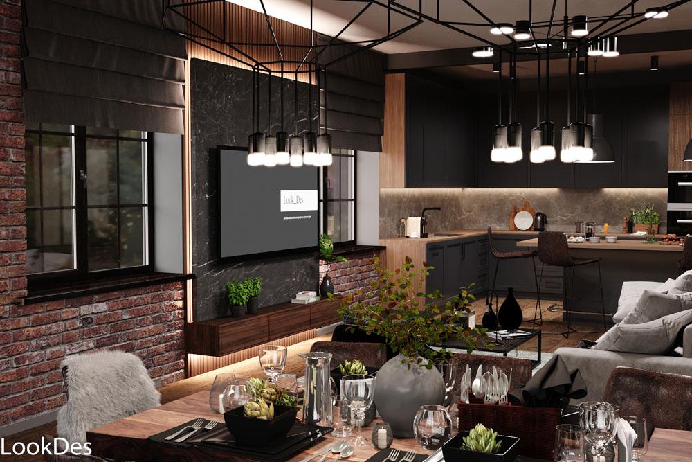 Дом в стиле лофт, дневная и вечерняя визуализация